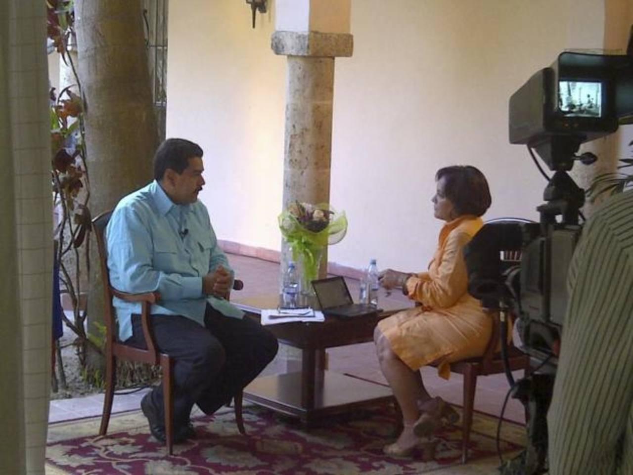 El vicepresidente de Venezuela, Nicolás Maduro durante entrevista con Telesur en La Habana.