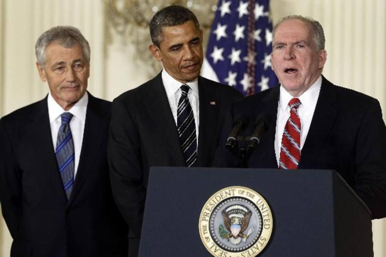 Hagel (izquierda) y Brennan (derecha) durante las nominaciones hechas por el presidente Obama. FOTO AP