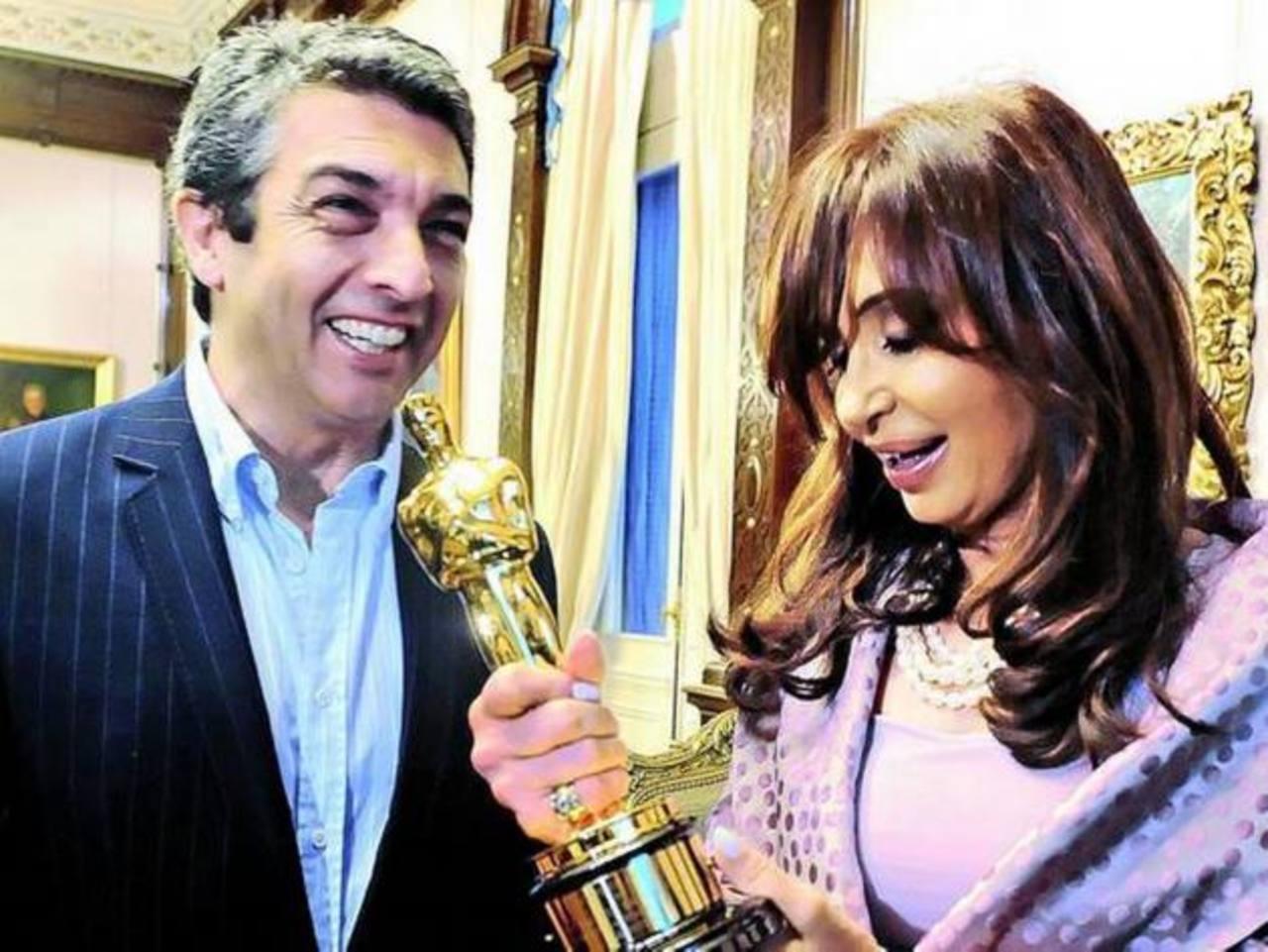 La presidenta argentina Cristina Fernández junto al actor Ricardo Darín. Foto EDH /archivo
