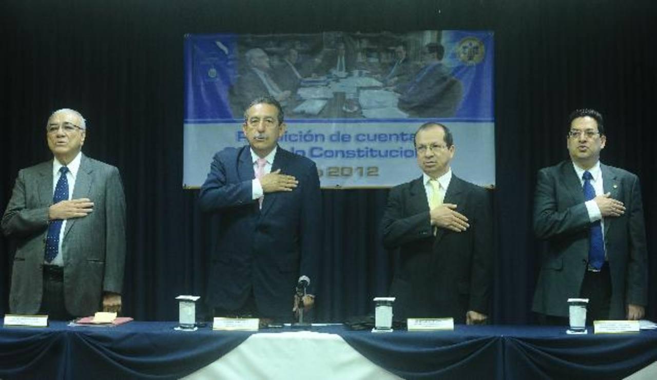 Magistrados de la Sala de lo Constitucional Belarmino Jaime, Florentín Meléndez, Sidney Blanco y Rodolfo González.