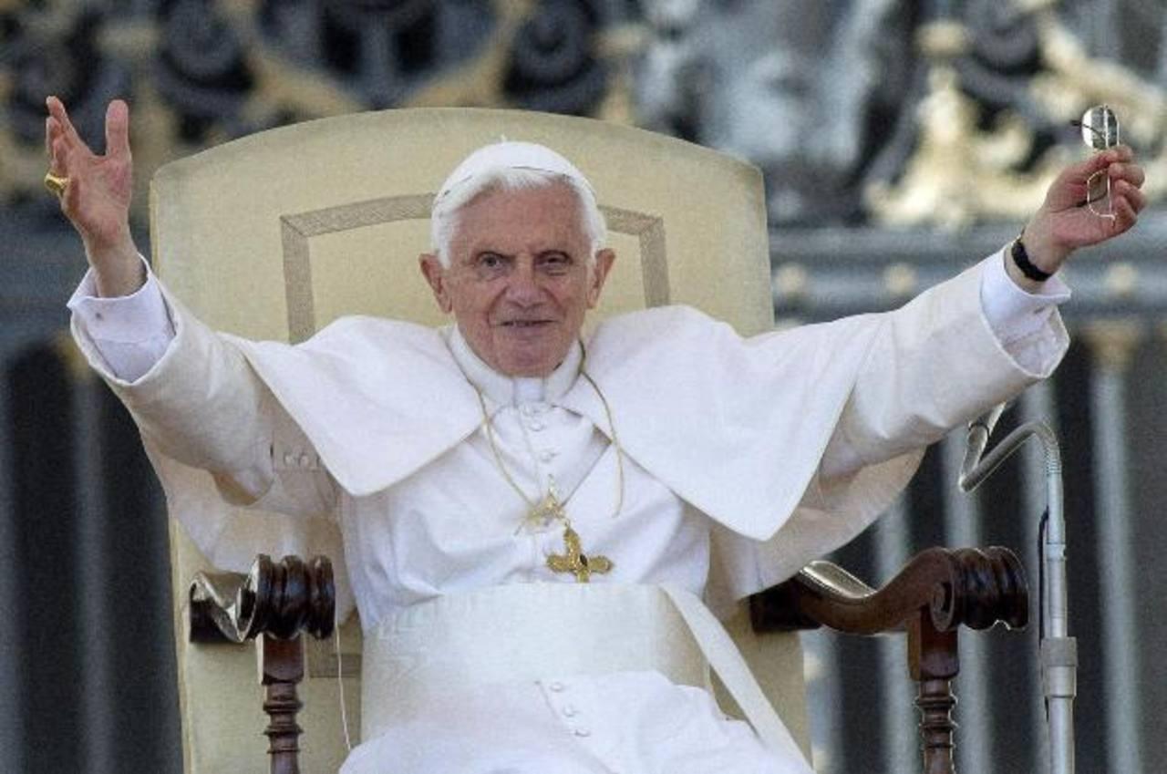 El papa Benedicto XVI en su audiencia general semanal. foto edh / archivo