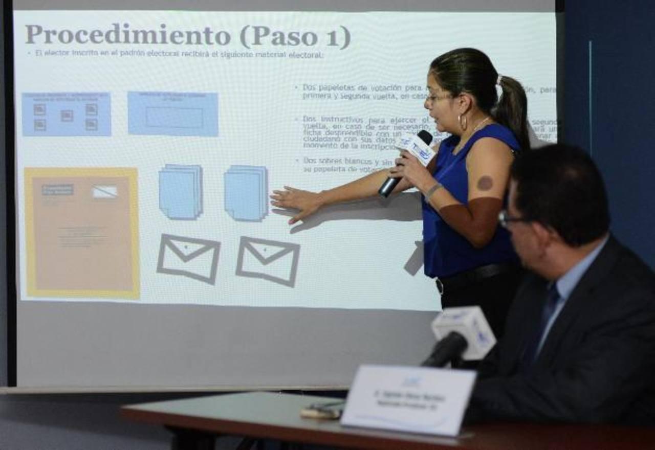 Ruth López, del TSE, explica que en el exterior dispondrán de dos papeletas que deberán devolver a los consulados en sobres certificados y con viñeta de seguridad. Foto EDH / César avilés