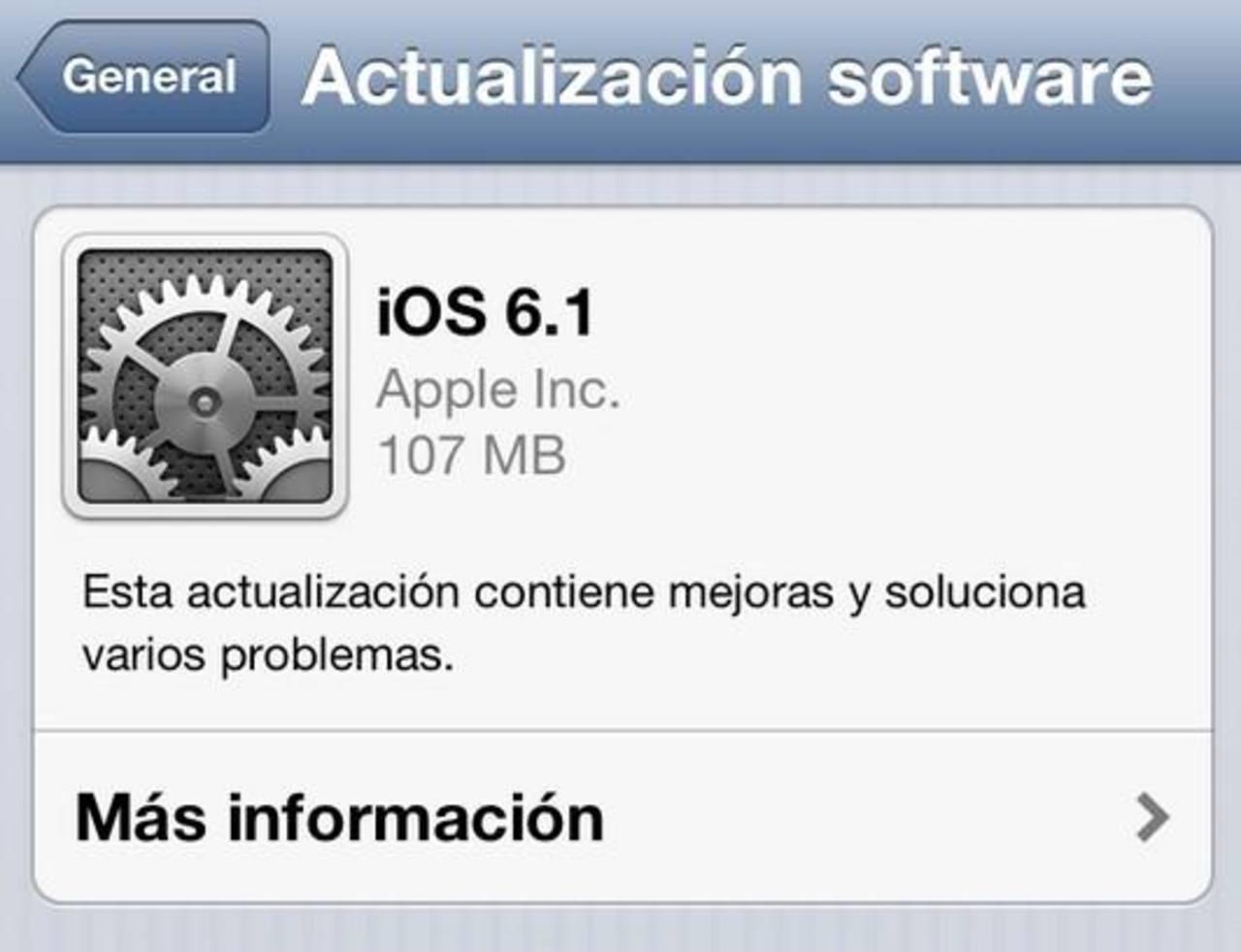 Apple publica la versión final de iOS 6.1 para iPhone y iPad