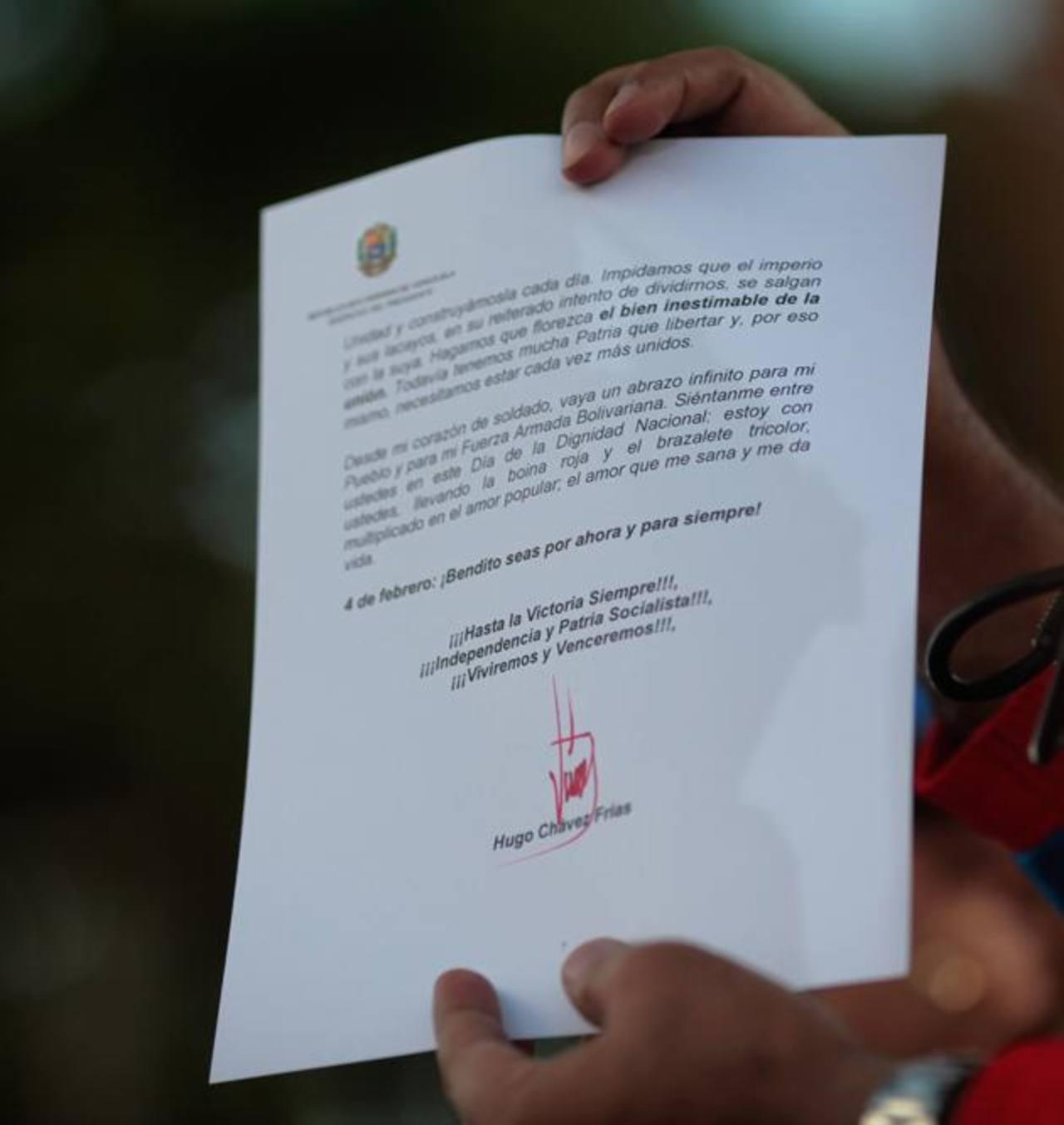 Imagen de la carta que habría leído Nicolás Maduro.