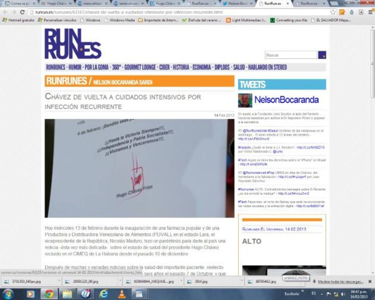 En su habitual web Runrunes, el periodista Nelson Bocaranda, ha manejado información sobre la salud del gobernante.