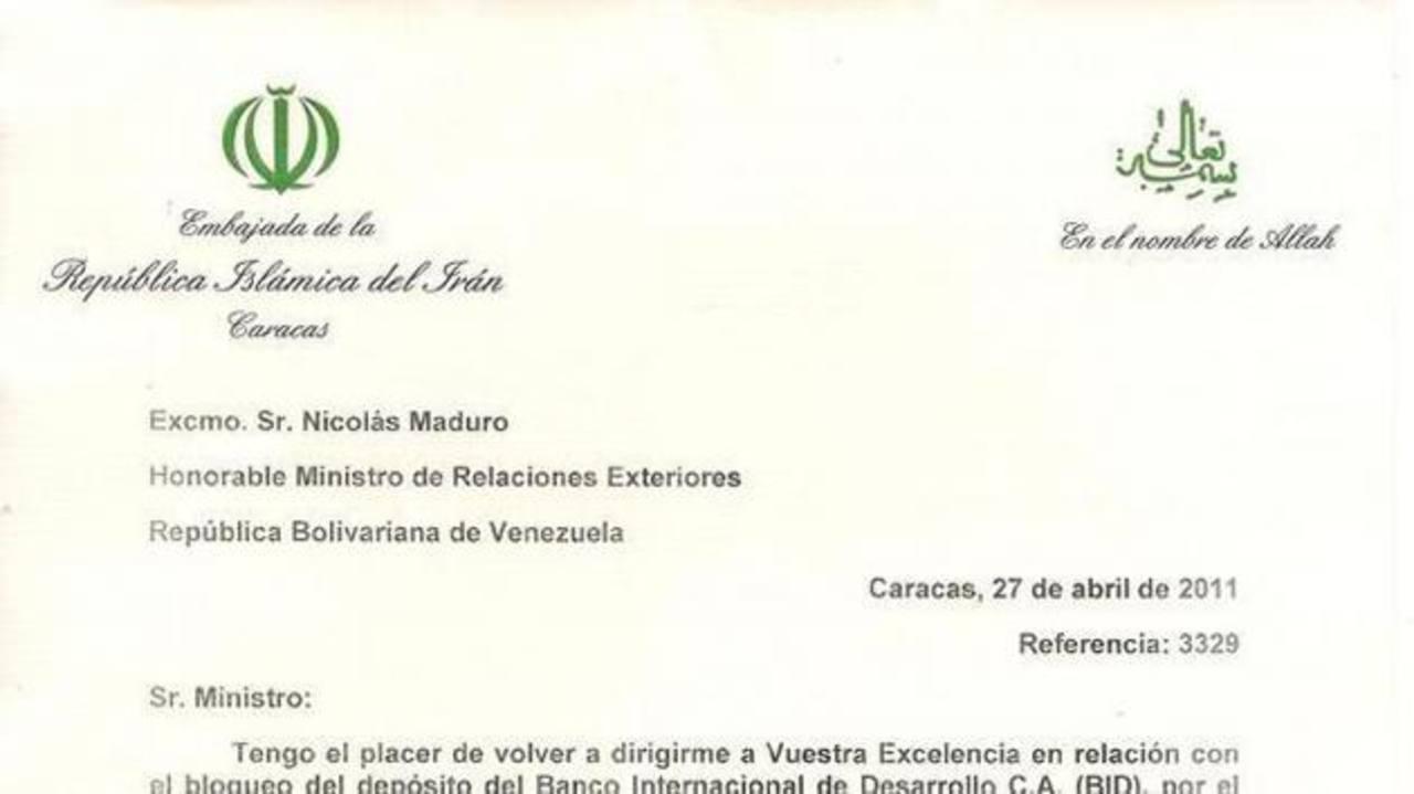 Carta del embajador iraní en Venezuela a Nicolás Maduro publicada por el diario español ABC. foto edh