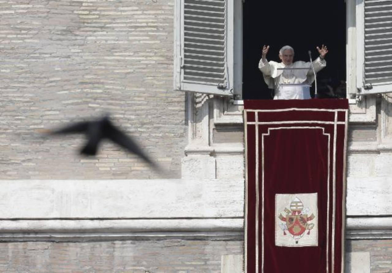 Una paloma vuela junto al Papa Benedicto XVI mientras él saluda a los fieles durante la oración del Angelus en la plaza de San Pedro, en el Vaticano. Foto/ AP
