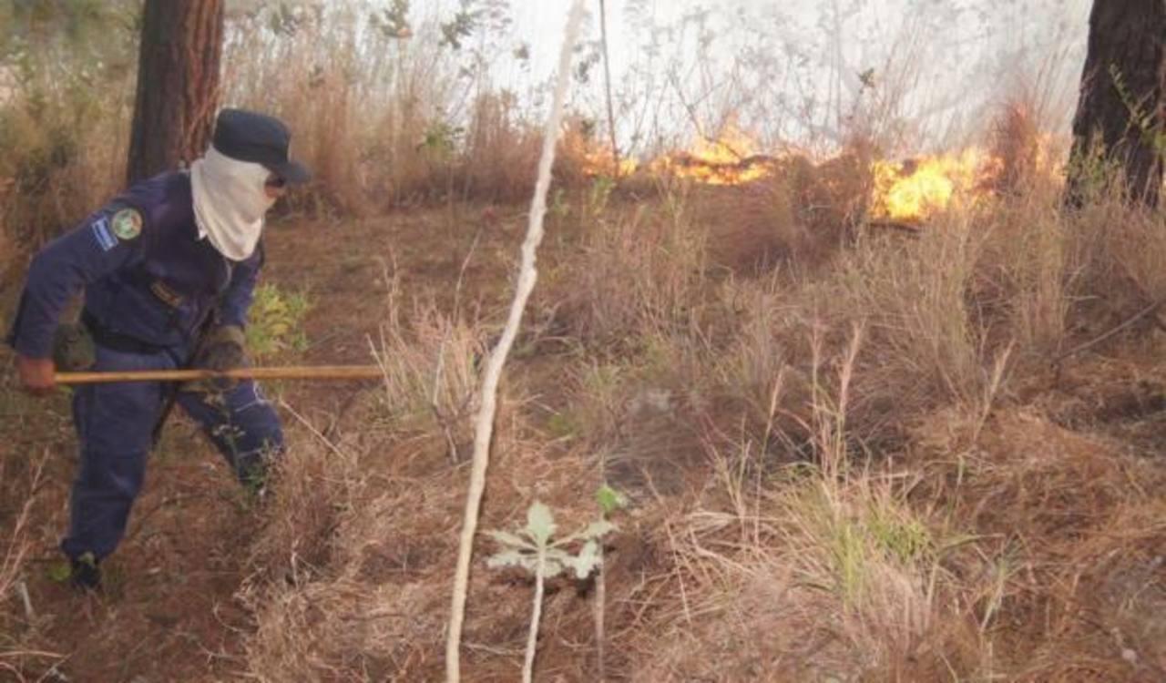 Bomberos trabajan en sofocar incendio en el volcán de San Salvador. Foto cortesía de Bomberos