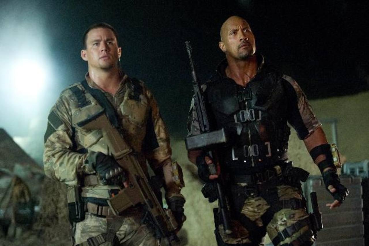 """Los actores Channing Tatum y Dwayne Johnson durante una escena de """"G.I. Joe: El contraataque"""""""