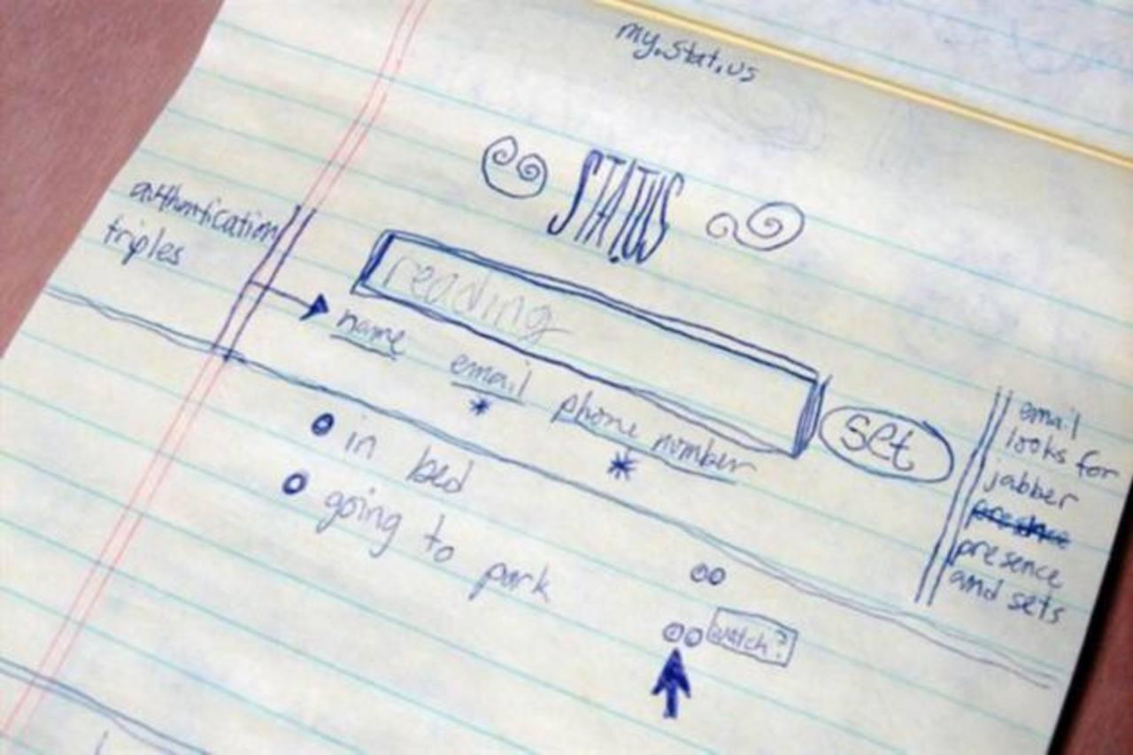 En una libreta hicieron el primer esquema de la plataforma de Twitter