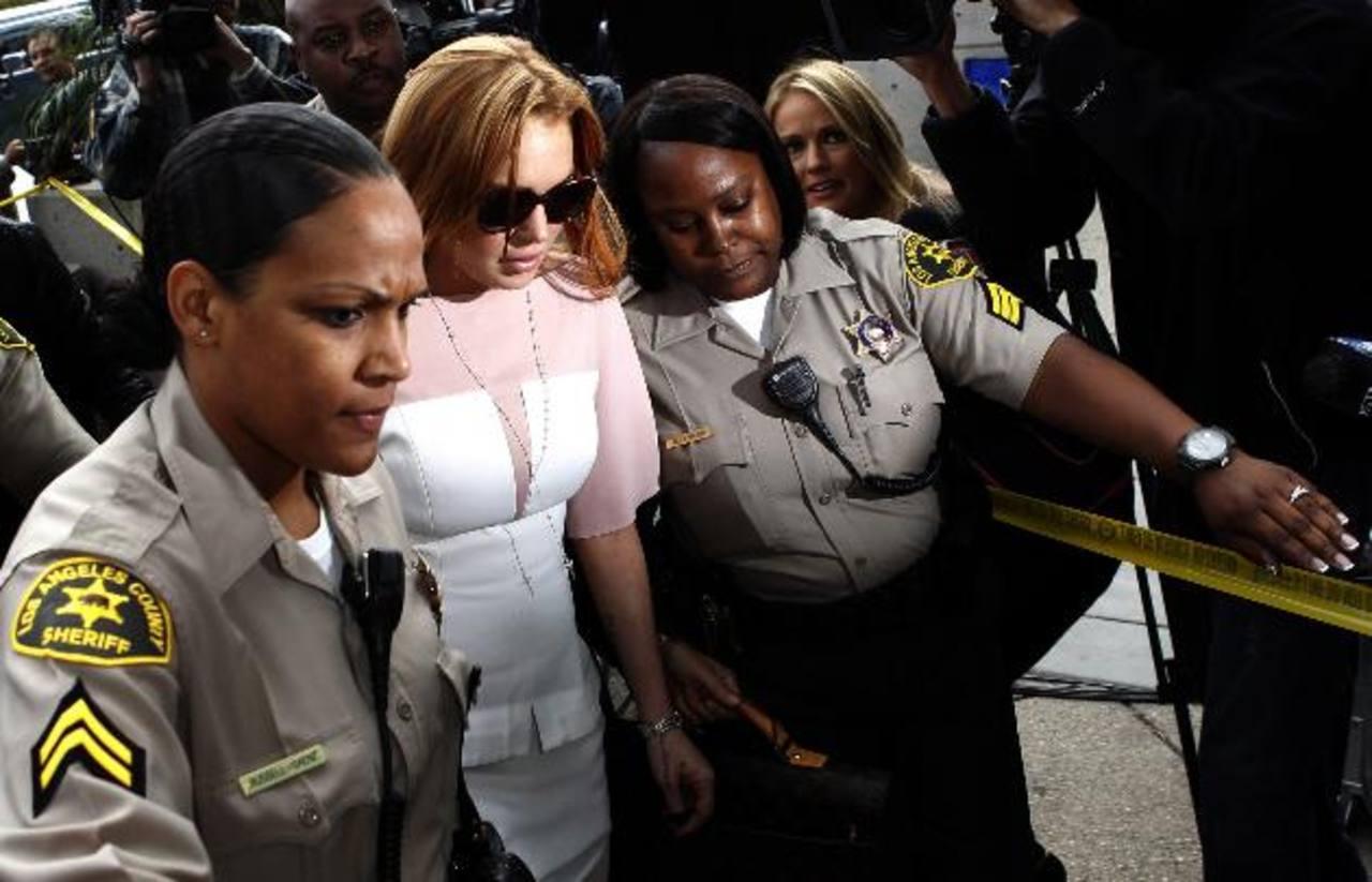 Linsay Lohan a su llegada a la Corte Superior de Los Ángeles, California.