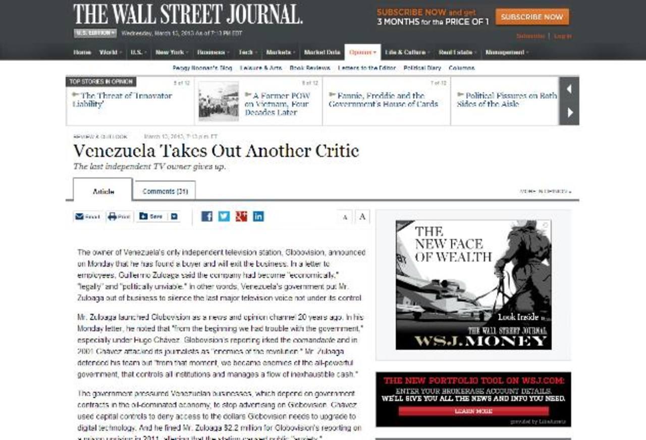 El diario neoyorkino The Wall Street Journal arremetió en un editorial contra el acoso a los medios en Venezuela. foto edh