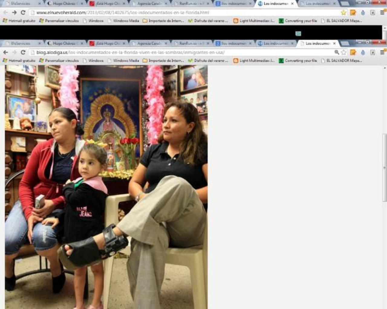 María Lemus, de 29 años, su hija Valeria, de 3, y la salvadoreña María Abarca. foto edh / cortesía el nuevo herald