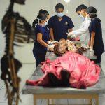 Estudiantes de la carrera de Medicina de la Universidad Evangélica permanecen el taller de Anatomía Humana. Foto EDH / douglas urquilla