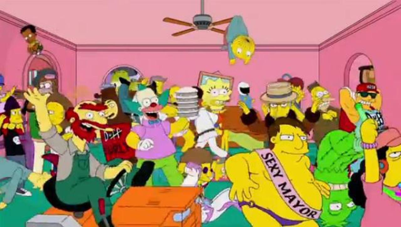 Homer Shake es el título del vídeo donde los personajes salen bailando juntos. FOTO EDH