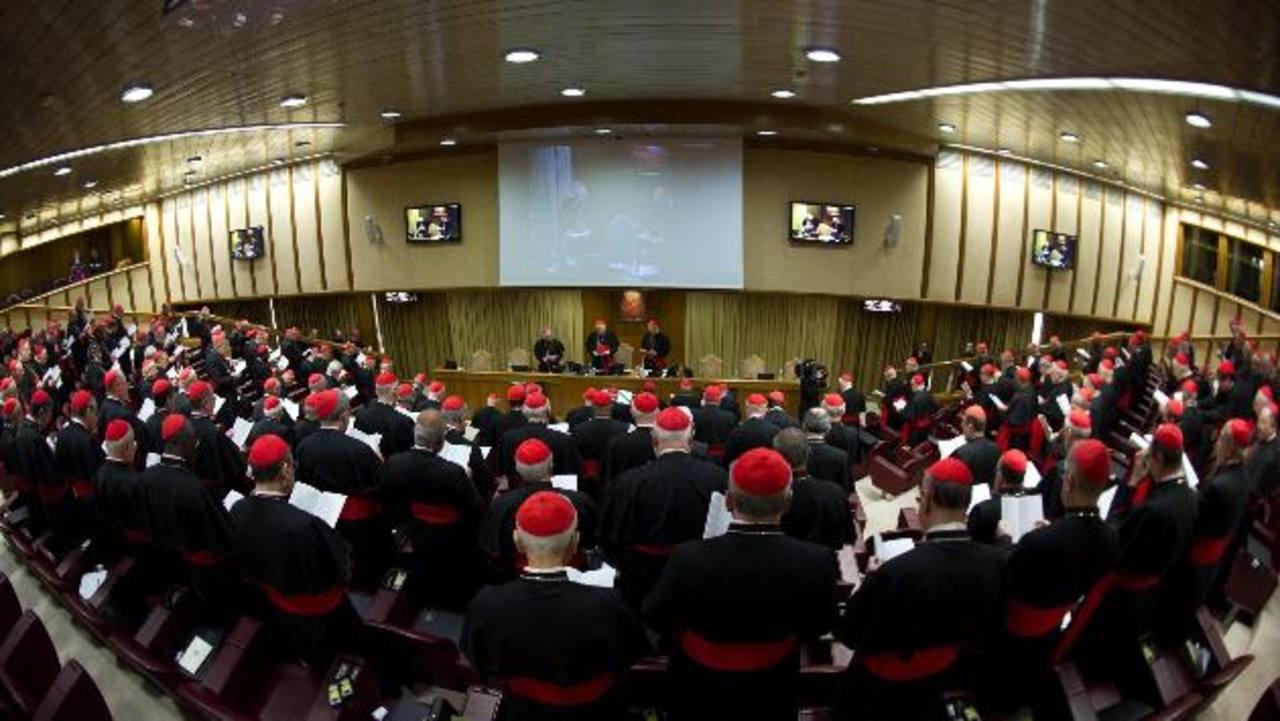 La mayoría de los purpurados electores, es decir con derecho a voto, asistió a la primera congregación celebrada en El Vaticano. Foto EDH/ efeA la izquierda, el falso obispo Ralph Napierski saluda al cardenal Sergio Sebastiana. Foto EDH