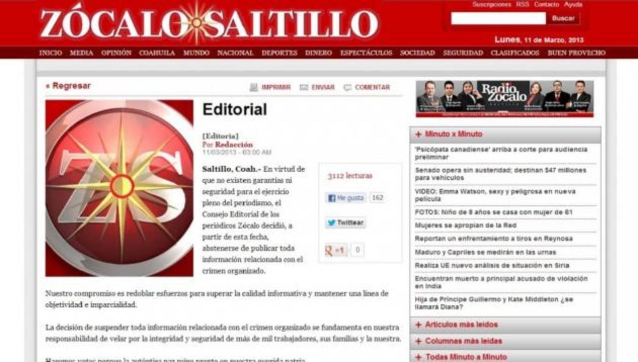 El grupo de medios publicó un editorial en el que da a entender que ha recibido amenazas. foto edh / internet