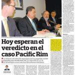Pacific Rim demanda al Estado por $315 millones