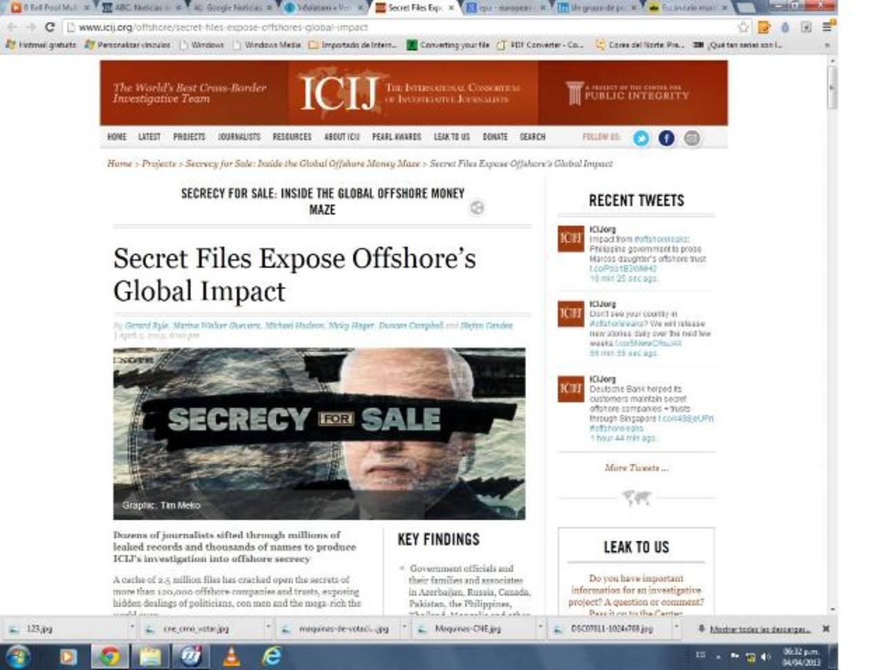 Página web del ICIJ con los fraudes fiscales investigados por la entidad (http://www.icij.org/) . foto edh / internet