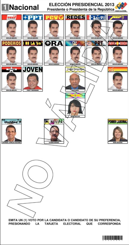 Nicolás Maduro aparece 14 veces en la papeleta