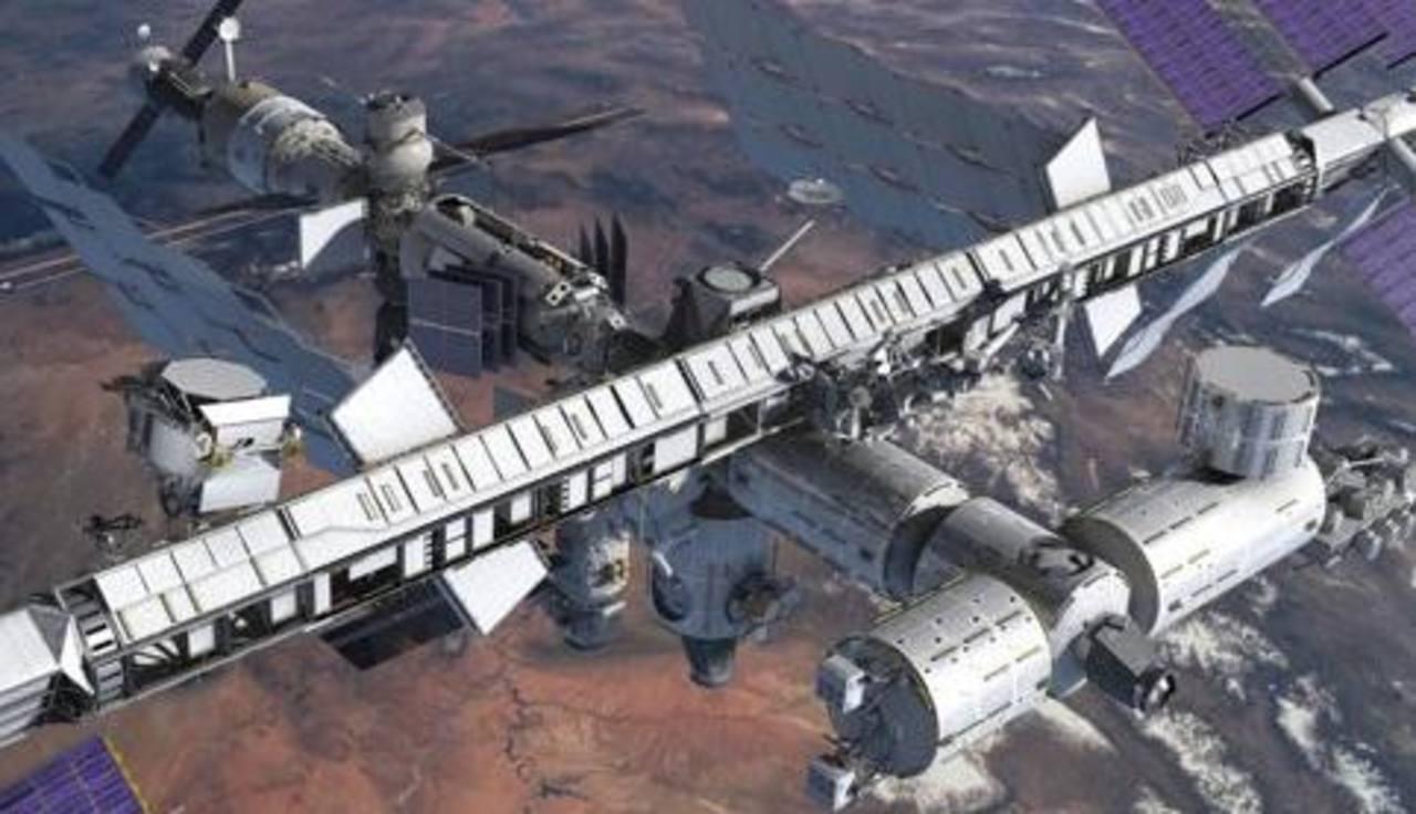Imagen artística proporcionada por la NASA muestra el Espectrómetro Magnético Alfa, el módulo circular a la izquierda, instalado en la Estación Espacial Internacional. Foto/ AP