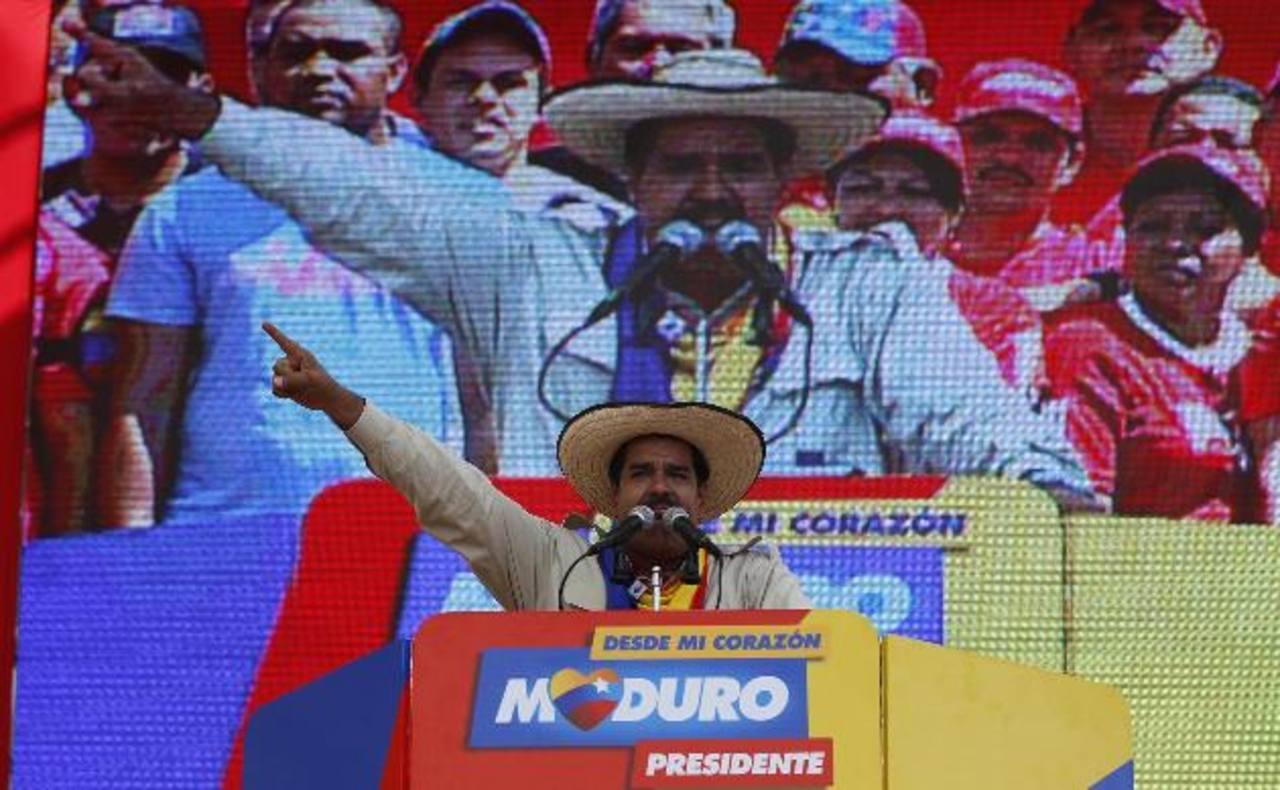 El candidato presidencial del Partido Socialista Unido de Venezuela (PSUV), Nicolás Maduro, durante un mitin en el estado Cojedes. foto edh / ap