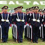 Cadetes de Escuela Militar en formación, en acto del Día del Soldado. Foto EDH / Mauricio Cáceres