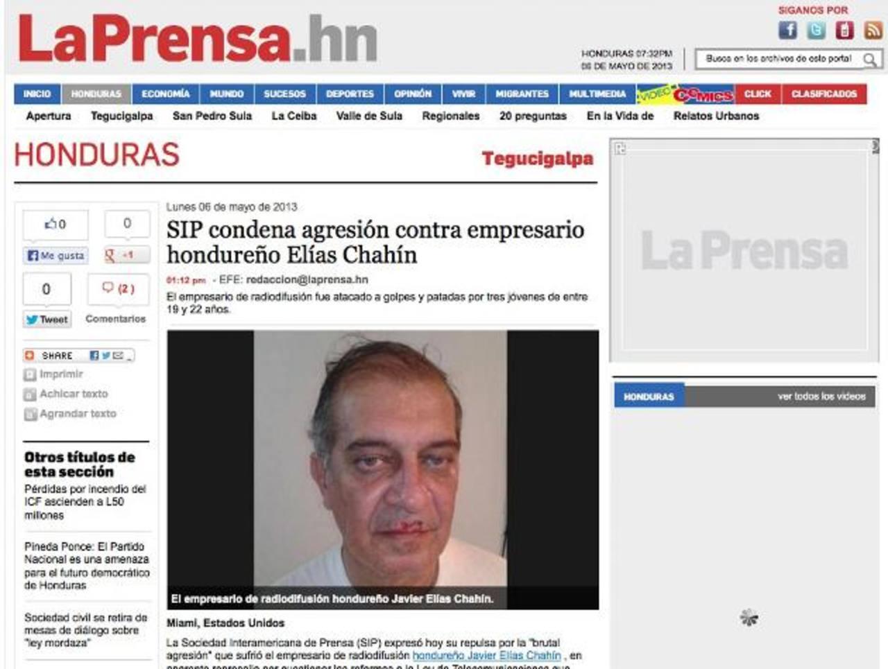 SIP rechaza ataque contra empresario periodístico