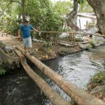 Los habitantes del lugar afectado se las ingenian para poder cruzar de un lado a otro a través de puentes improvisados hechos de palos de cocotero y otro tipo de materiales como bambú.