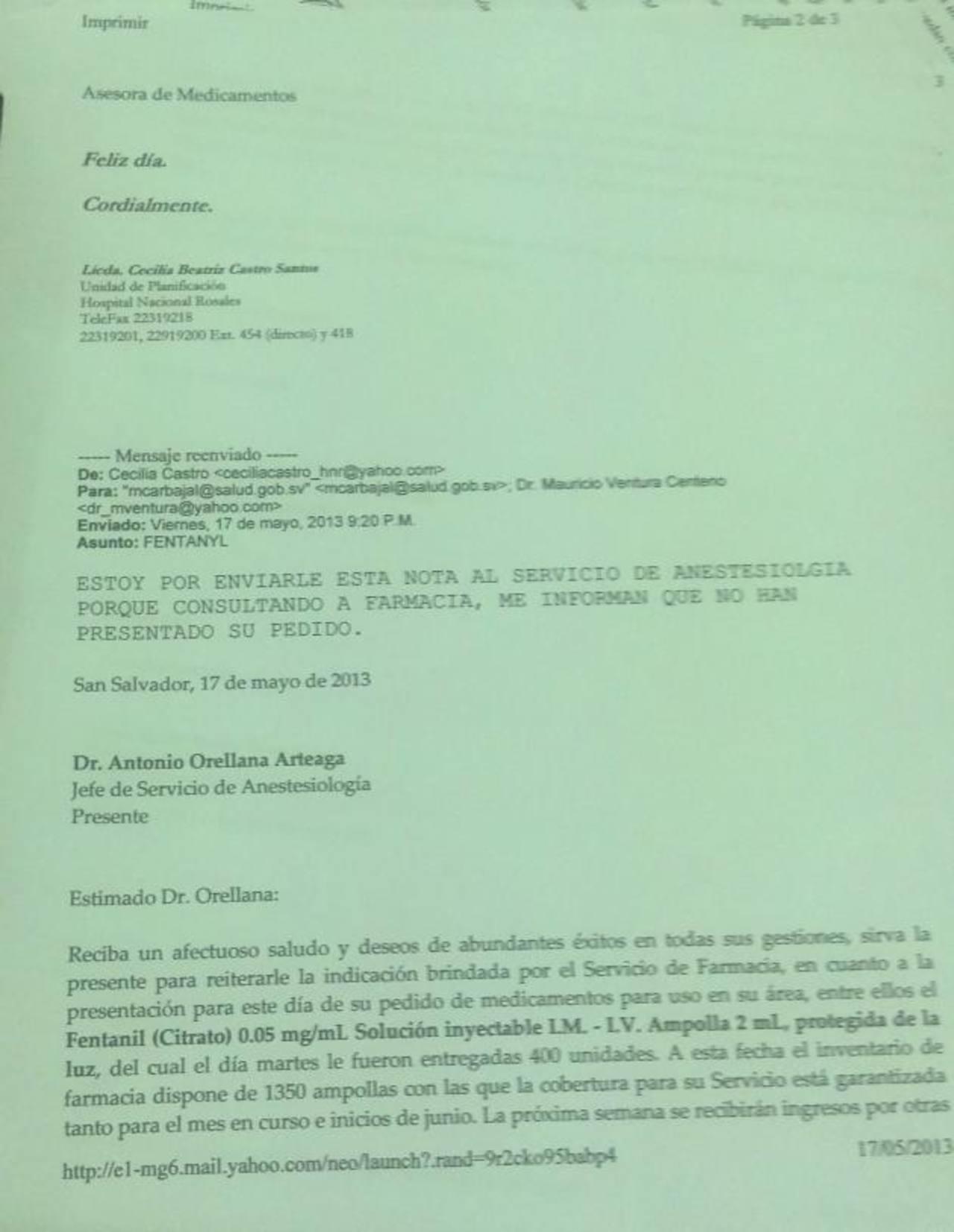 Correo electrónico enviado por la Asesora de Medicamentos al Jefe de Anestesiología y al director del hospital Rosales.