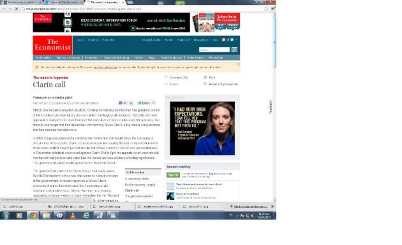Portal de la nota de The Economist donde rechaza el ataque del gobierno argentino contra los medios. foto edh