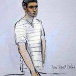 Este bosquejo muestra al acusado Robel Phillipos compareciendo ante la jueza federal Marianne Bowler en Boston. Foto/ AP