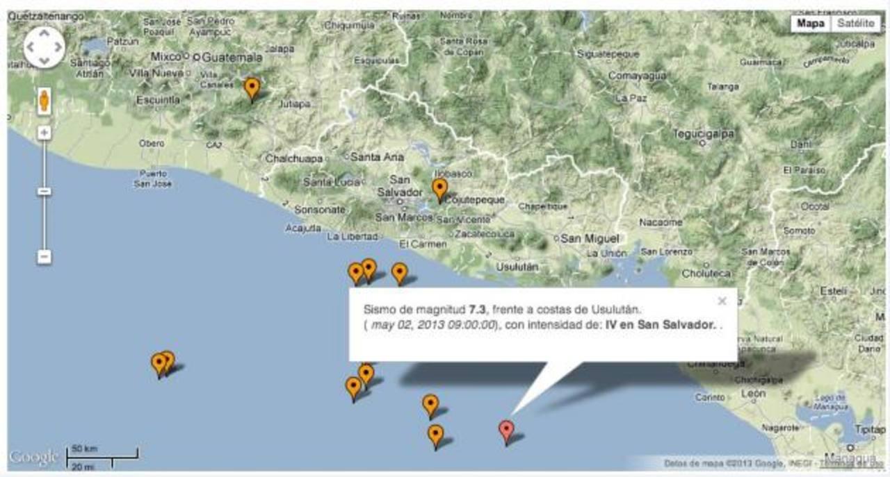 Captura de pantalla de la imagen que difundió @SismoSV informando del terremoto ficticio. FOTO EDH
