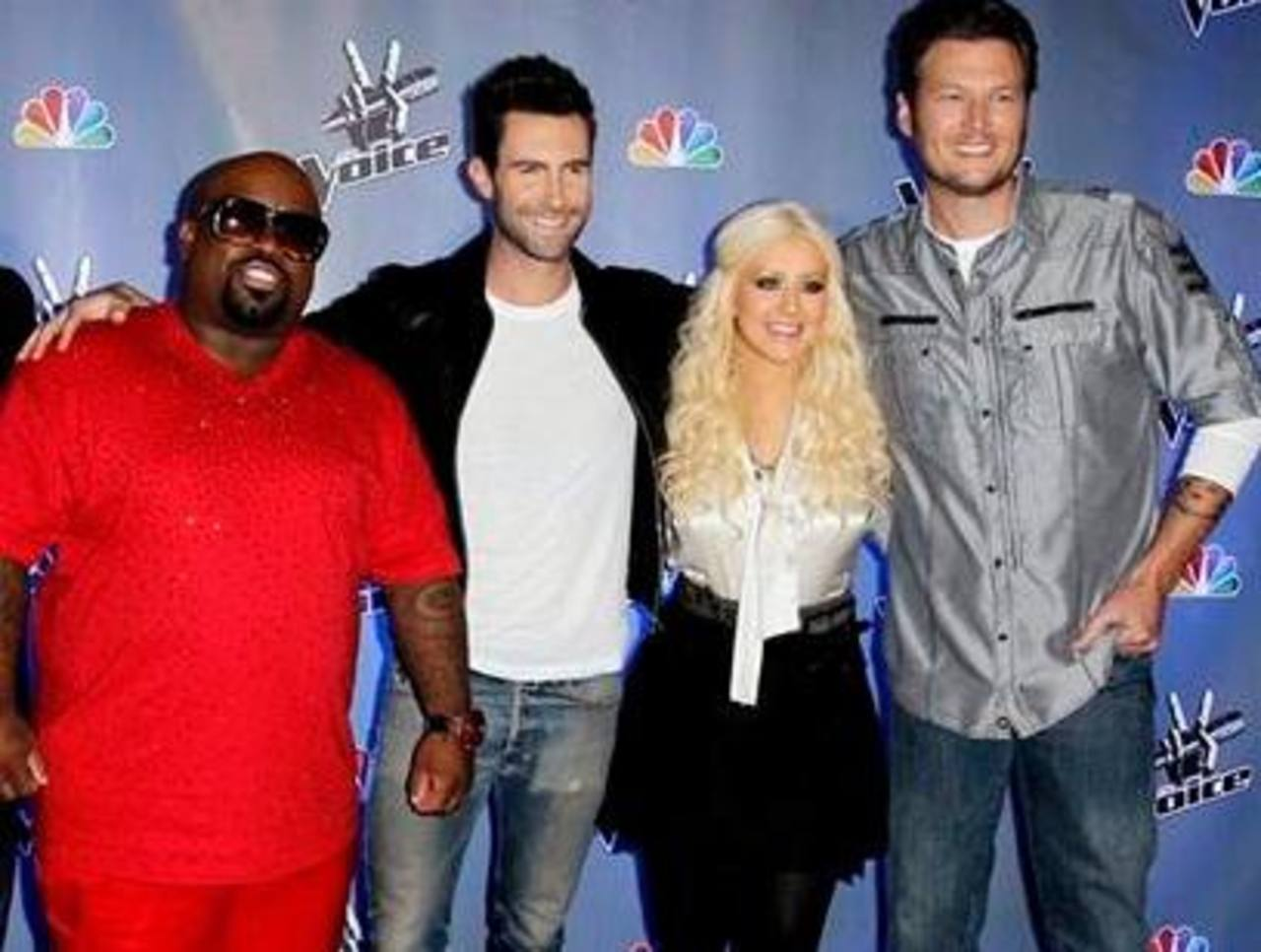 "De izquierda a derecha, Cee Lo Green, Adam Levine, Christina Aguilera y Blake Shelton, coaches de la competencia de canto ""The Voice"". Foto/ AP"