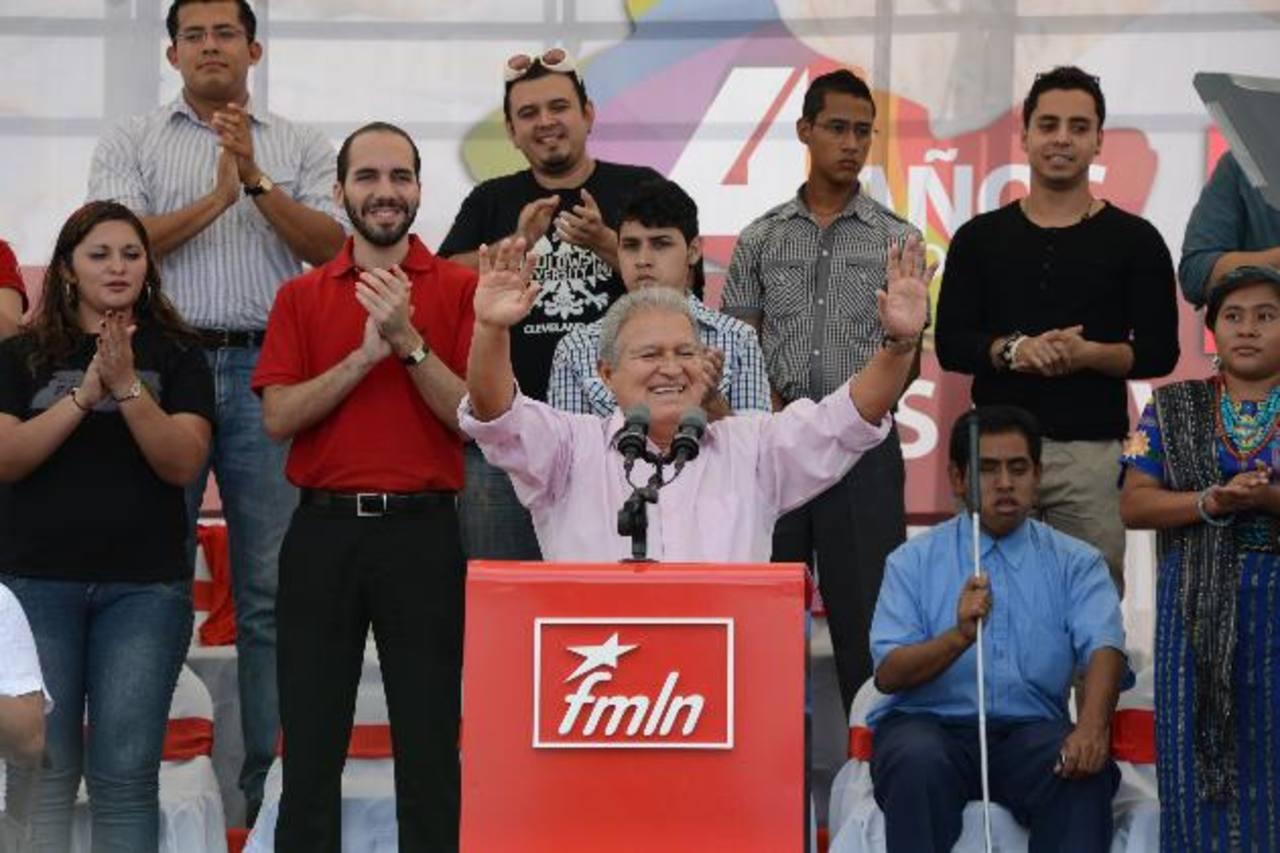 Salvador Sánchez Cerén participó ayer en la celebración del FMLN por los 4 años de gobierno. Foto EDH / Miguel villalta