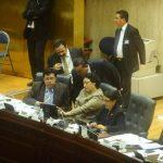 Los efemelenistas Roberto Lorenzana, Lorena Peña y Lourdes Palacios junto a Francis Zablah y Mario Tenorio, de Gana (atrás).La bancada de ARENA votó en diciembre de 2012 por la ley del Fonat. Ahora sus legisladores plantean que la misma debe de derog