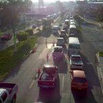 El tráfico vehicular de Soyapango a San Salvador se tornó lento esta mañana. Foto vía Twitter Mauricio Cáceres