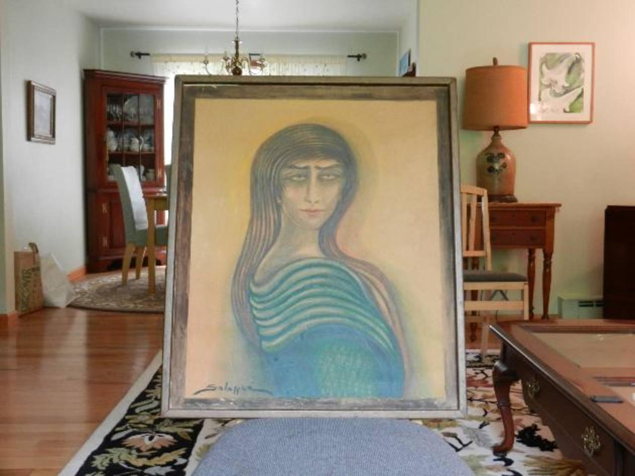 Retrato que el artista salvadoreño hizo de la hija del periodista Mario Rosenthal, Ana Rosenthal Haskin, propietaria de la obra.
