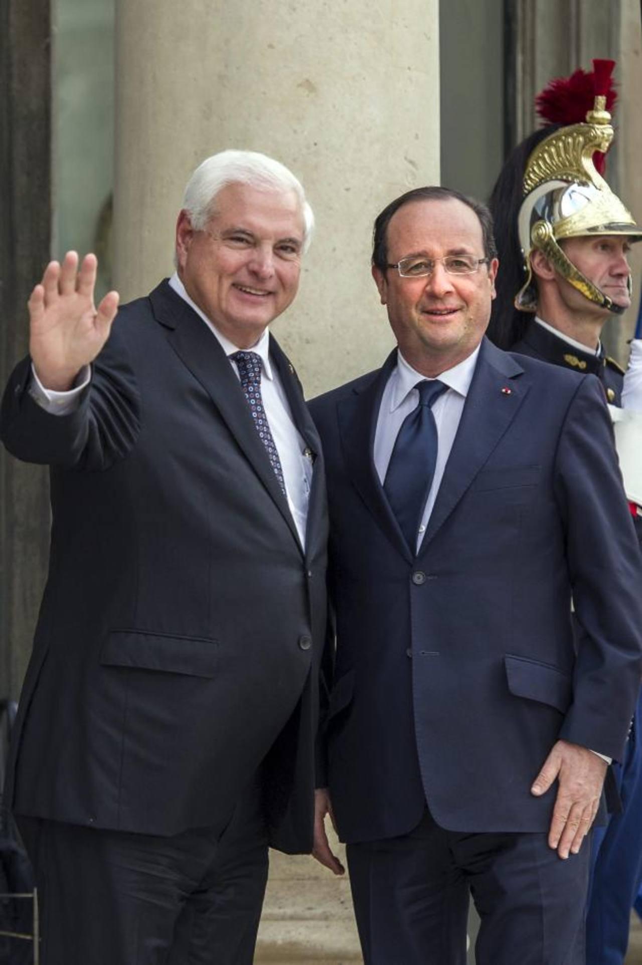 Los presidentes Martinelli (Panamá) y Hollande (Francia).