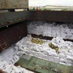 """Una bodega del barco norcoreano en el que autoridades de Panamá hallaron """"material bélico""""."""