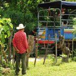 Un hombre observa la escena donde ayer asesinaron a dos hombres en un cantón de Ilobasco. Foto EDH / Marlon Hernández