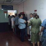 Sindicalistas del hospital Zacamil realizaron esta mañana un paro parcial. Foto vía Twitter Mauricio Pineda