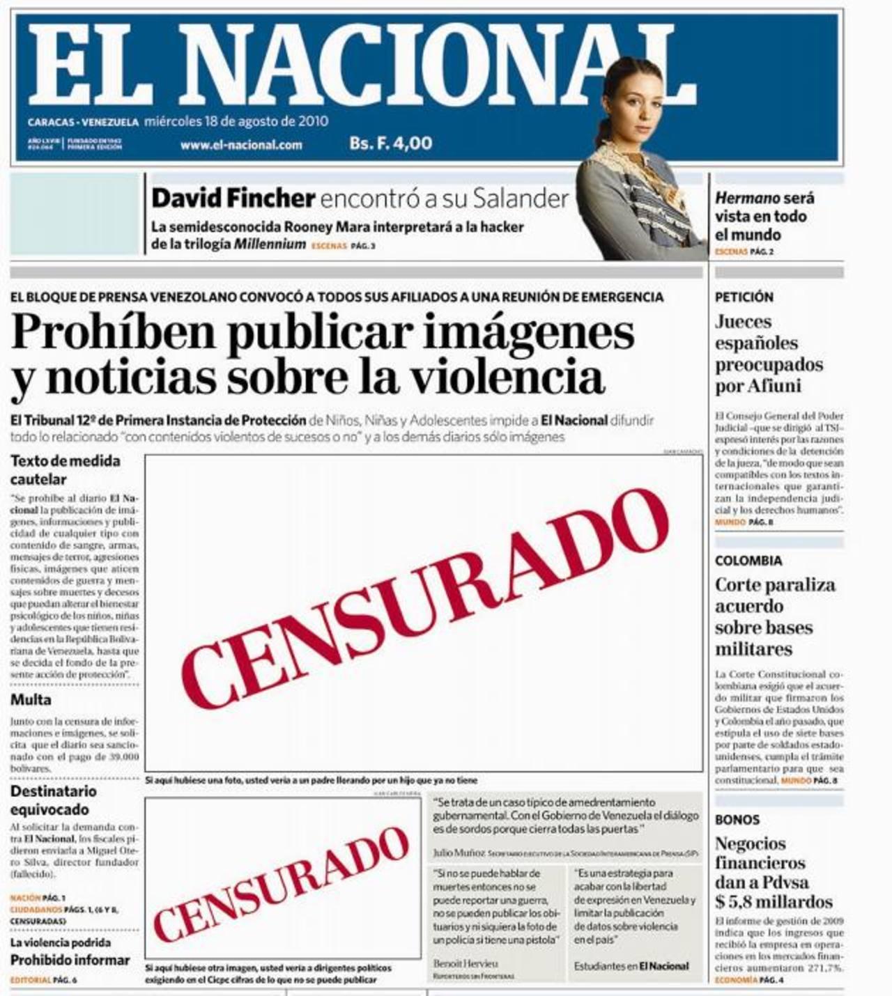 La Fiscalía de Venezuela ha pedido congelar las cuentas bancarias y bienes del editor de El Nacional, un diario crítico del Gobierno, en momentos en que las autoridades arrecian su control sobre los medios de comunicación del país. foto edh / el naci