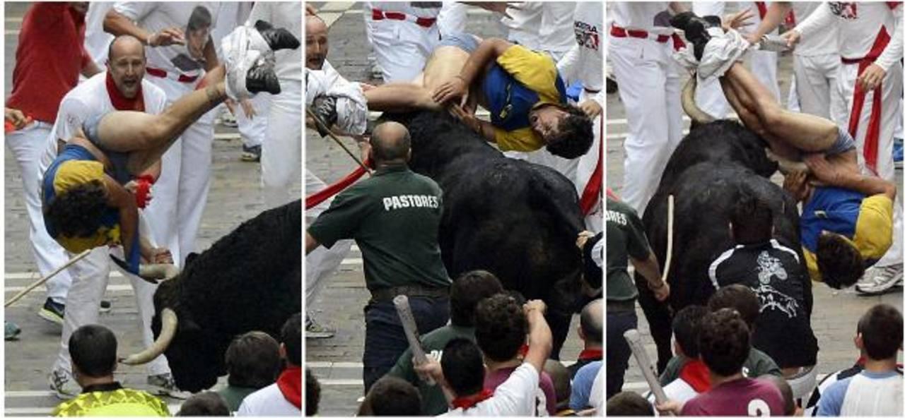 Secuencia de la embestidura del toro al español Diego Miralles de 31 años. Fue corneado en la inlge, en la rodilla y en un muslo. fotos edh / efe