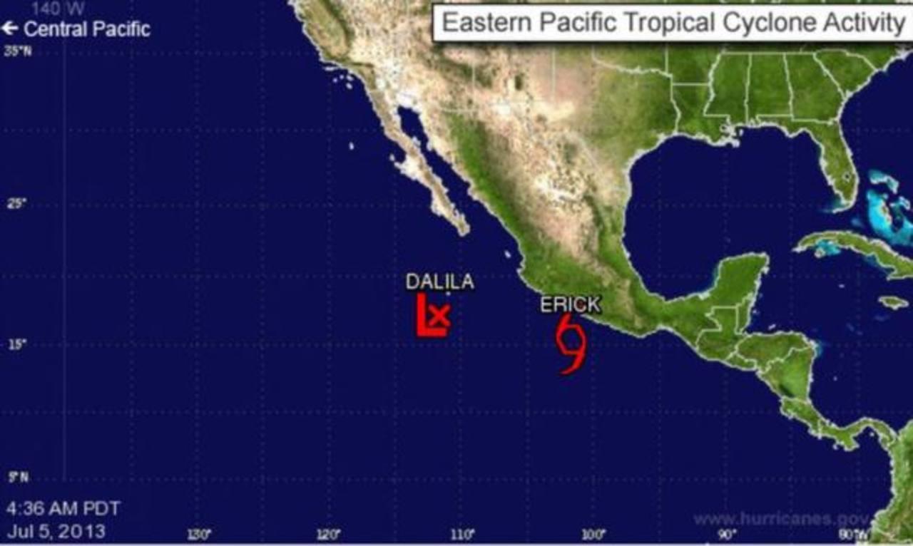 Tormenta tropical Erick se fortalece frente a México