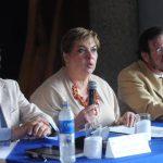 Autoridades de la Secultura y de la AECID durante la presentación del Sistema de Información Cultural ayer en las instalaciones del Muna. Fotos EDH / Lissette Moterrosa.