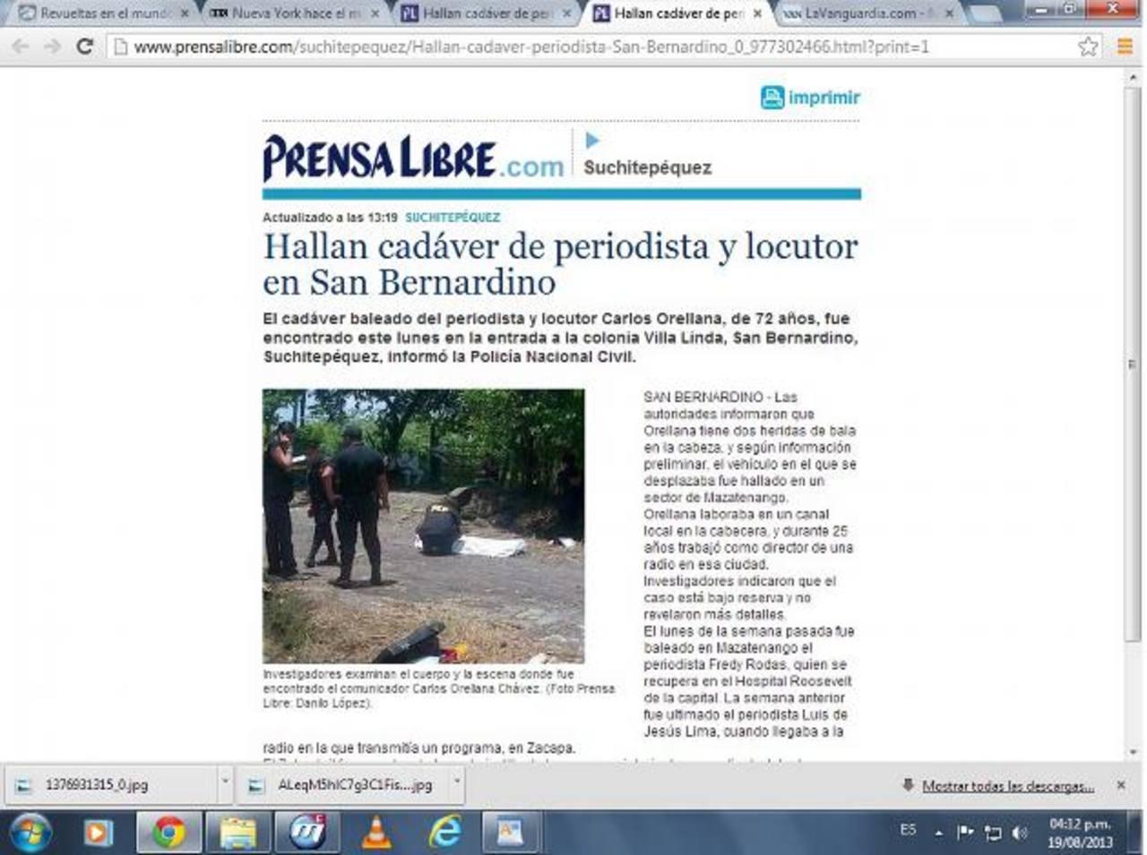 El periodista y locutor Carlos Alberto Orellana Chávez, de 62 años, fue asesinado y su cuerpo localizado ayer en el municipio de San Bernardino, del departamento de Suchitepéquez. foto edh / internet