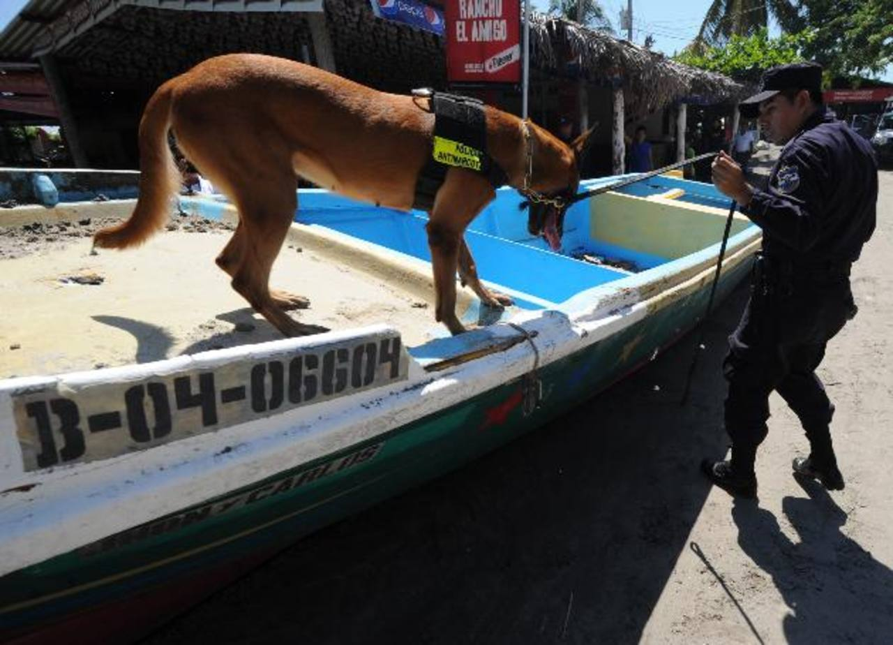 Un agente antinarcótico, con la ayuda de un perro, inspecciona la lancha abandonada.