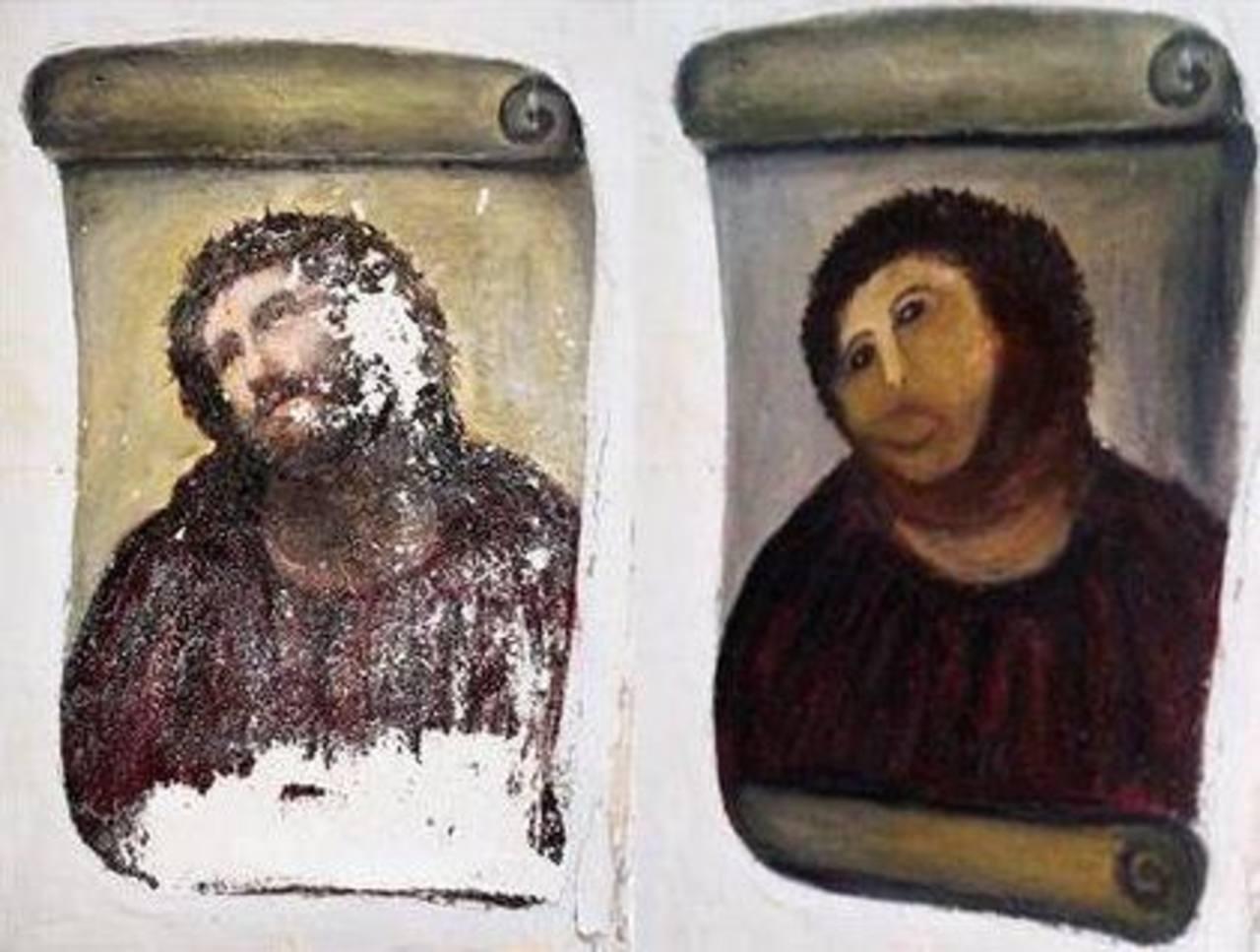"""En las imágenes proporcionadas por el Centro de Estudios Borjanos, el fresco de Cristo de 1930 """"Ecce Homo"""", a la izquierda, y la versión """"restaurada"""". Foto/ AP"""