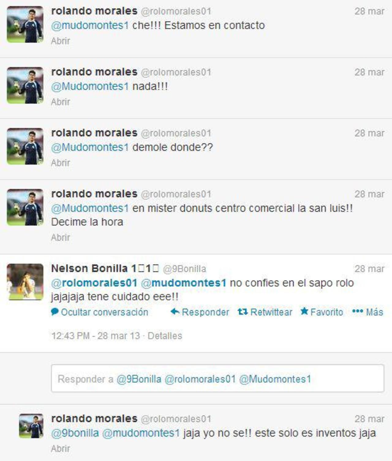 Captura de imagen de la conversación entre Miguel Montes y Rolando Morales, portero de la Sub 20, antes de ir a Turquía.